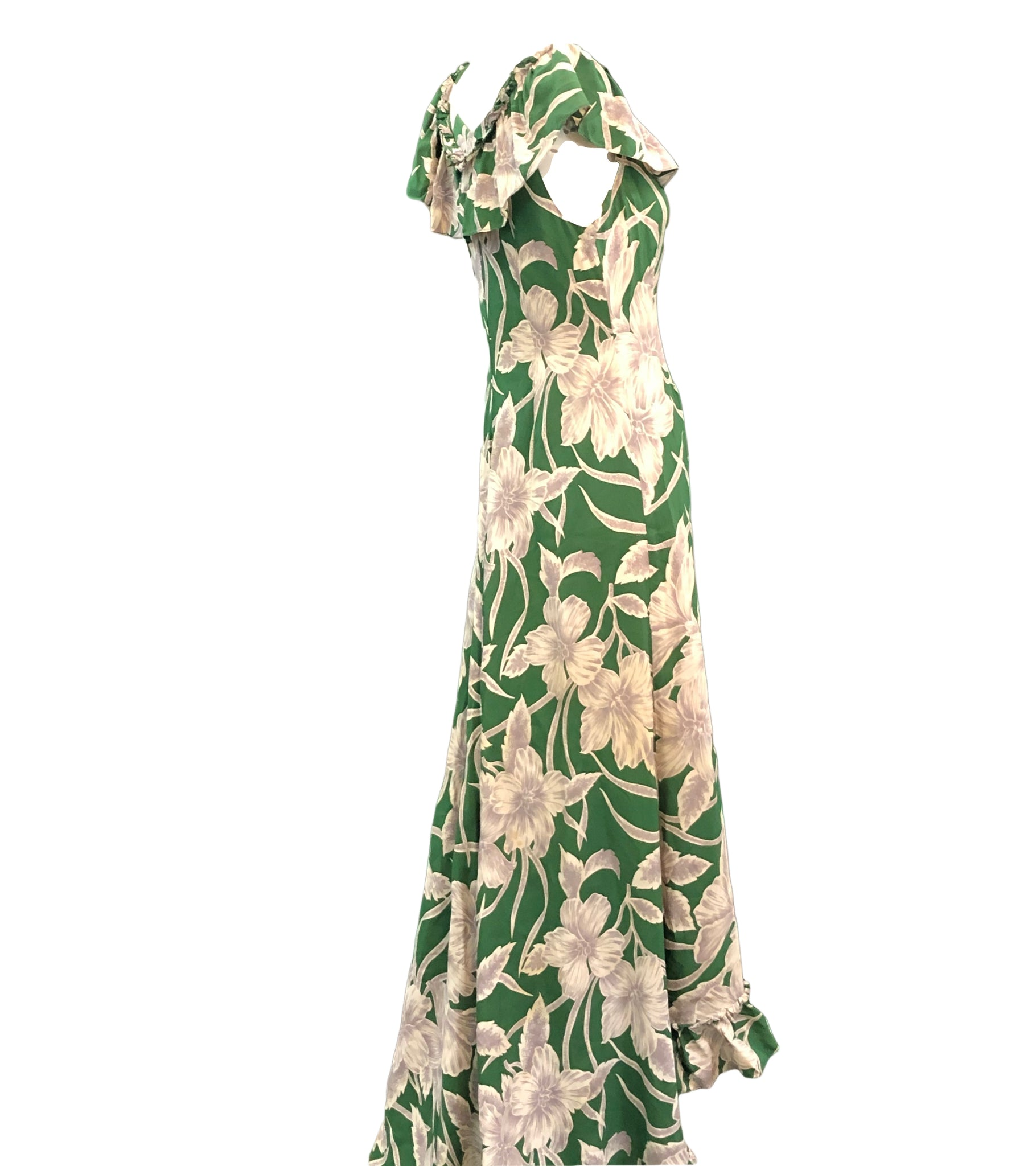 Incredible 1940s Green  Rayon Print Holoku Dress Side 2 of 7