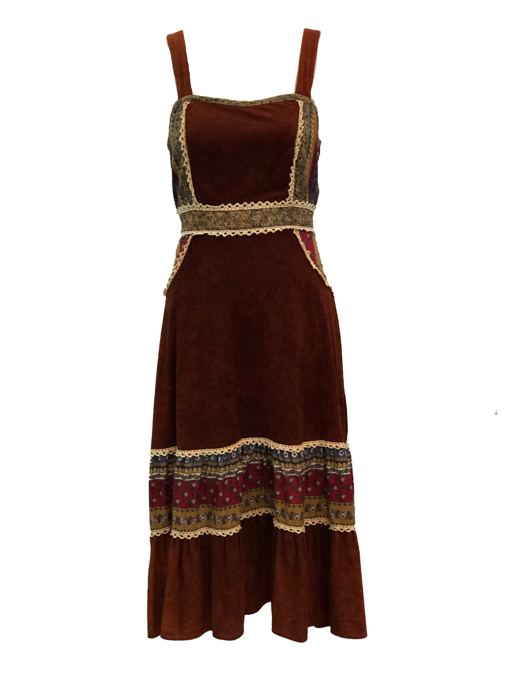 70s Brown Hippie Peasant Dress Front 1 of 3