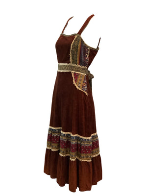 70s Brown Hippie Peasant Dress Side 3 of 3