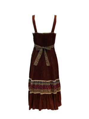70s Brown Hippie Peasant Dress Back 2 of 3