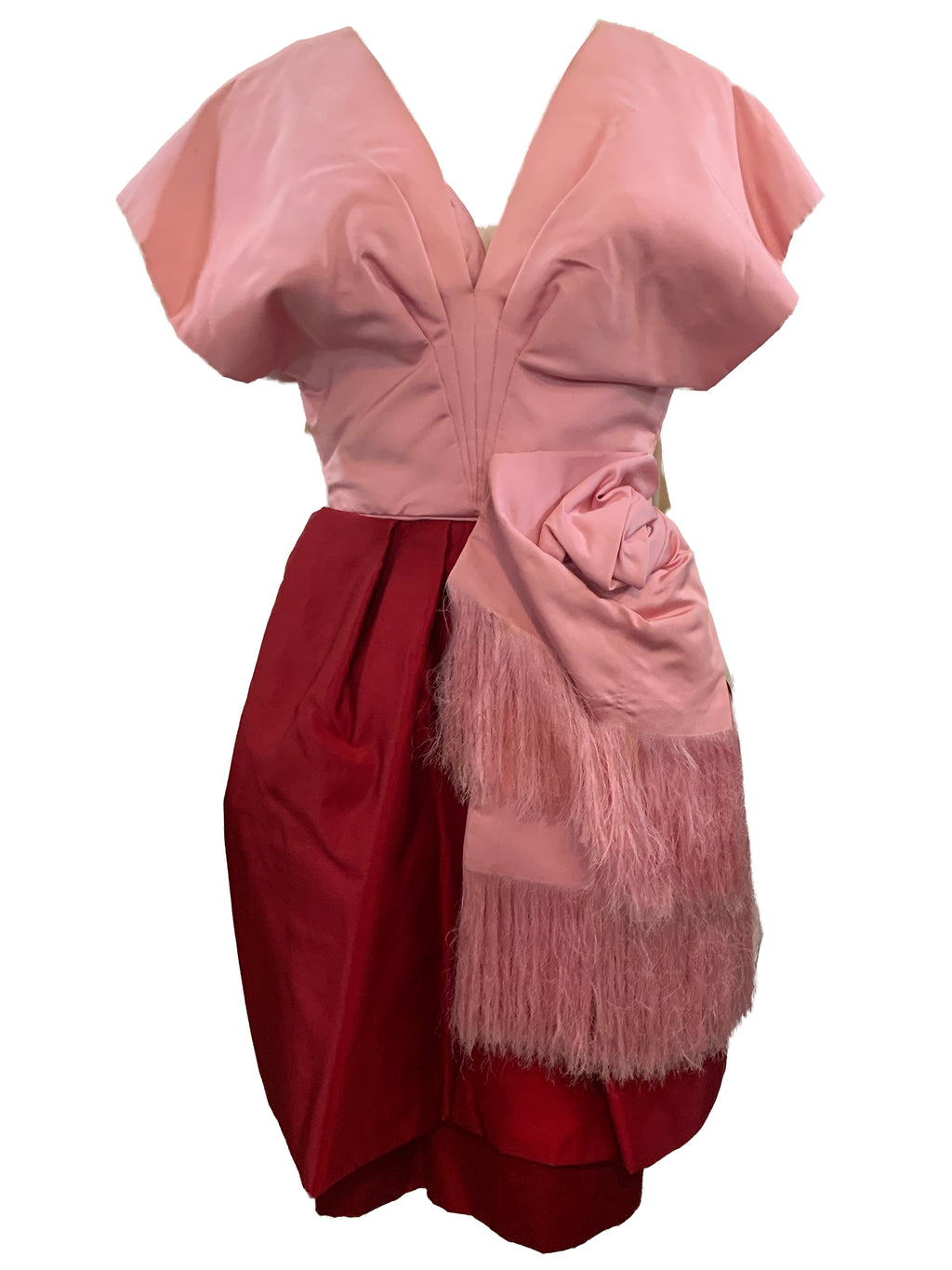 d'Crenza of Beverly Hills 50s Red and Pink Silk Cocktail Ensemble DRESS 1 of 6