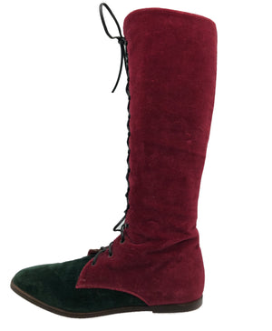90s Two Tone Velvet Boots 2 of 4
