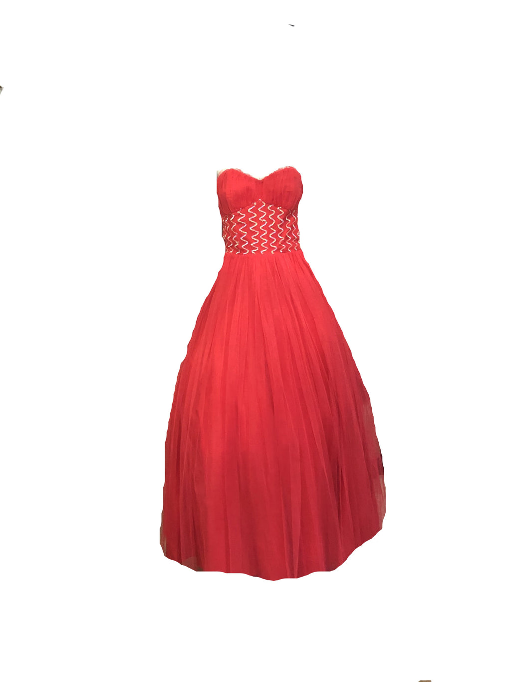 50s Red Tulle Strapless Prom Gown FRONT 1 of 4