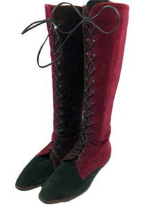90s Two Tone Velvet Boots 1 of 4