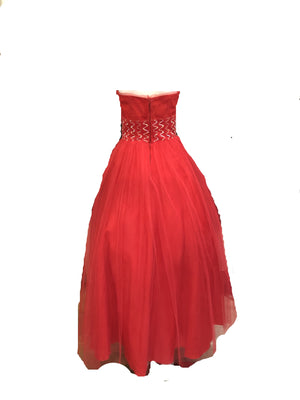 50s Red Tulle Strapless Prom Gown  BACK 2 of 4