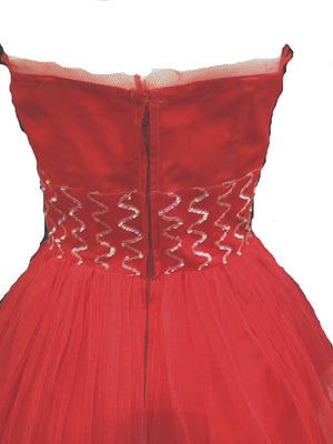 50s Red Tulle Strapless Prom Gown , bodice back 4 of 4