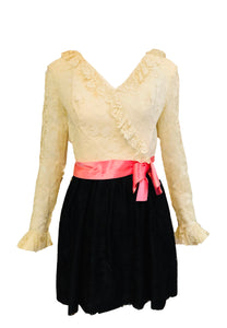 60s Mod Mini Dress White and Black Lace with Pink Sash FRONT 1 of 3