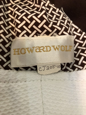 Howard Wolf 70s White Pique and Print Summer Dress LABEL 5  of 5