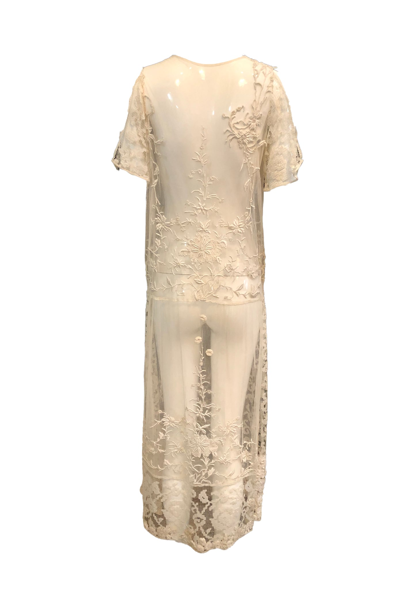 20s Dress Ivory Mesh with Lace with Incredible Embroidery BACK 2 of 4
