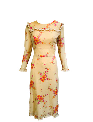 Jane de Liege 70s Nude Floral Neo Victorian Dress  FRONT 1 of 6