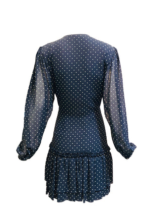 Galanos Attribution Dress Blue Silk Polka Dot Mini BACK 2 of 4