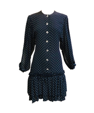Galanos Attribution Dress Blue Silk Polka Dot Mini FRONT 1 of 4