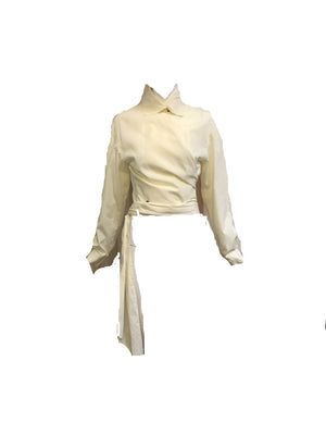 Romeo Gigli Iconic Ivory Cotton Wrap Blouse FRONT 1 of 5