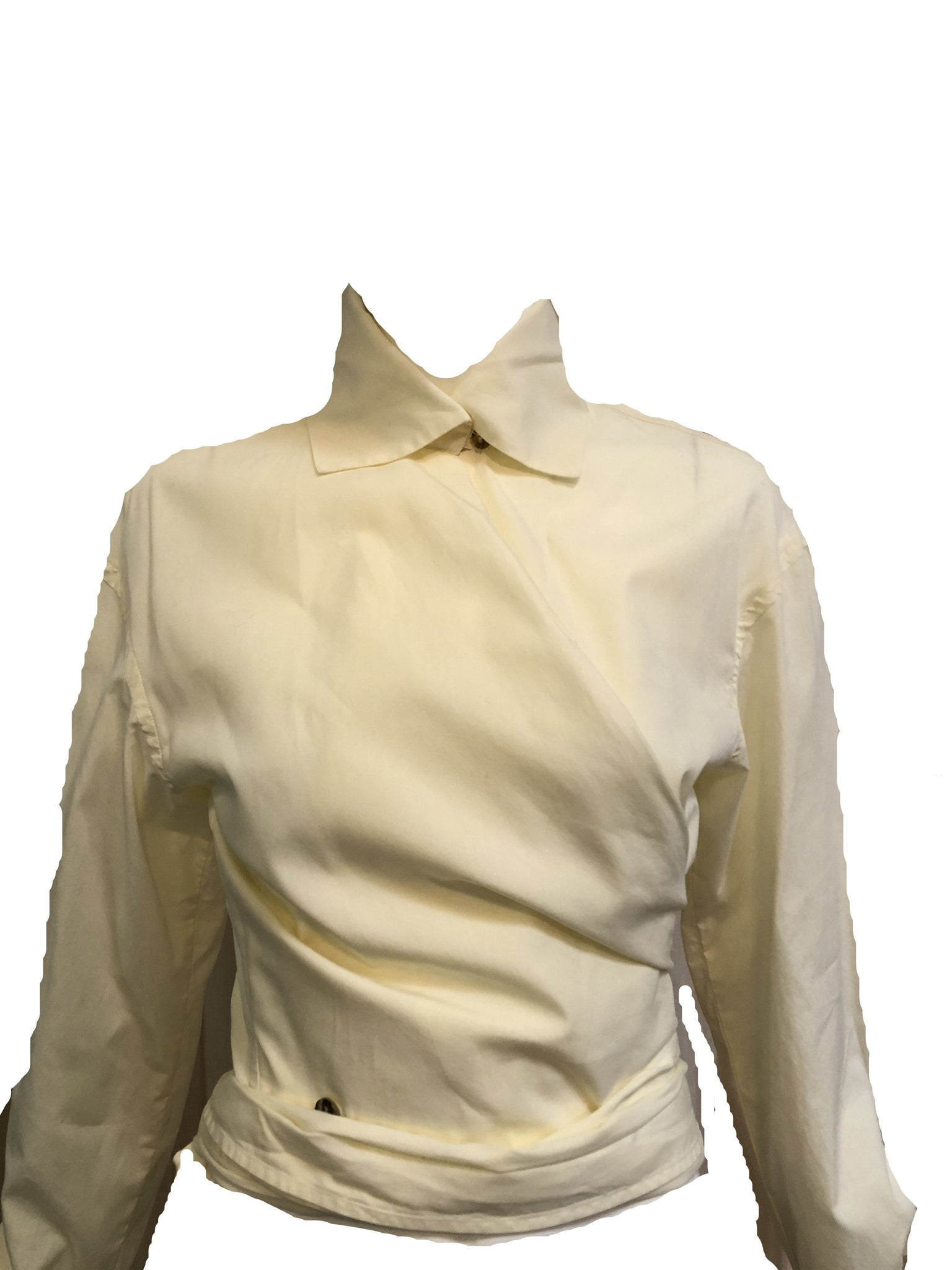 Romeo Gigli Iconic Ivory Cotton Wrap Blouse CLOSE UP FRONT 3 of 5