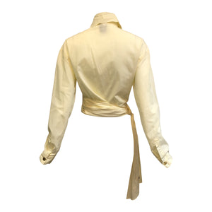 Romeo Gigli Iconic Ivory Cotton Wrap Blouse BACK 2 of 5