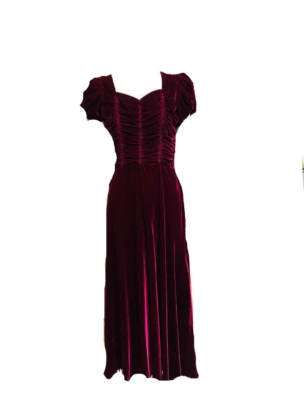 30s Gown Burgundy Velvet with Ruched Bodice  FRONT 1 of 3