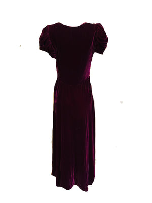 30s Gown Burgundy Velvet with Ruched Bodice  BACK 2 of 3