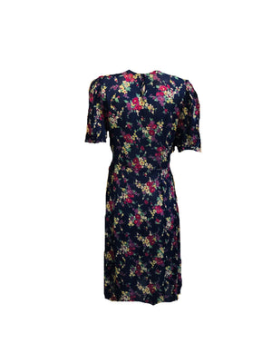 30s Dress Blue Floral Day BACK 2 of 5