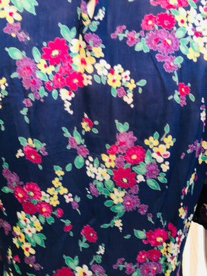 30s Dress Blue Floral Day DETAIL 5 of 5