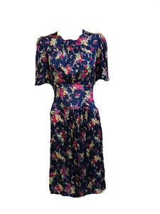 30s Dress Blue Floral Day FRONT 1 of 5