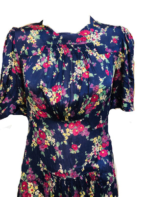 30s Dress Blue Floral Day DETAIL 3 of 5