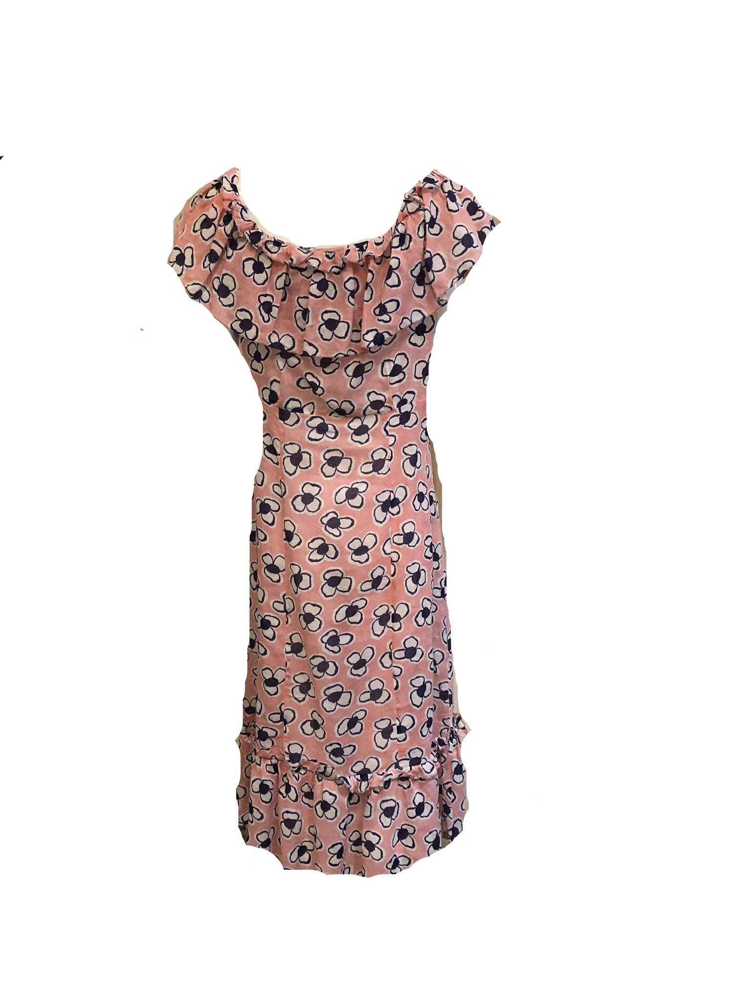 30s Dress Darling Pink Floral Summer Cotton BACK 2 of 3