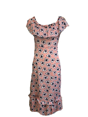 30s Dress Darling Pink Floral Summer Cotton FRONT 1 of 3
