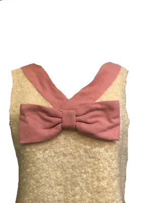 60s Blouse Ivory Nubby Shell  Top with Pink Bow DETAIL 3 of 4