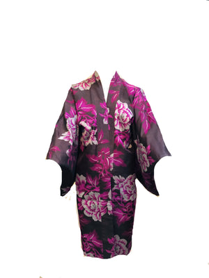 Purple Japanese Haori Floral Short Kimono FRONT 1 of 3