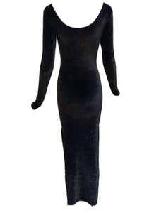 90s Black Velvet Sexy Goth Dress FRONT 1 of 3