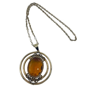 70s Citrine Colored Gem Pendant Necklace FRONT 1 of 3