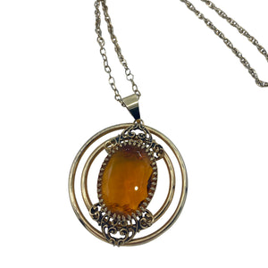 70s Citrine Colored Gem Pendant Necklace DETAIL 2 of 3