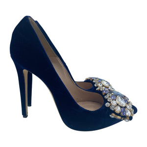Gedebe Contemporary Blue Velvet Pumps With Massive Rhinestone Detail SIDE 2 of 6