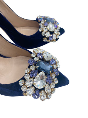 Gedebe Contemporary Blue Velvet Pumps With Massive Rhinestone Detail DETAIL 3 of 6