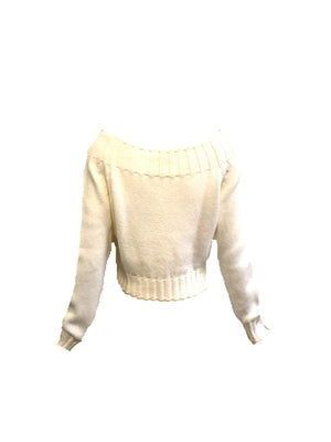 Moschino 90s White Cropped Sweater BACK 2 of 4