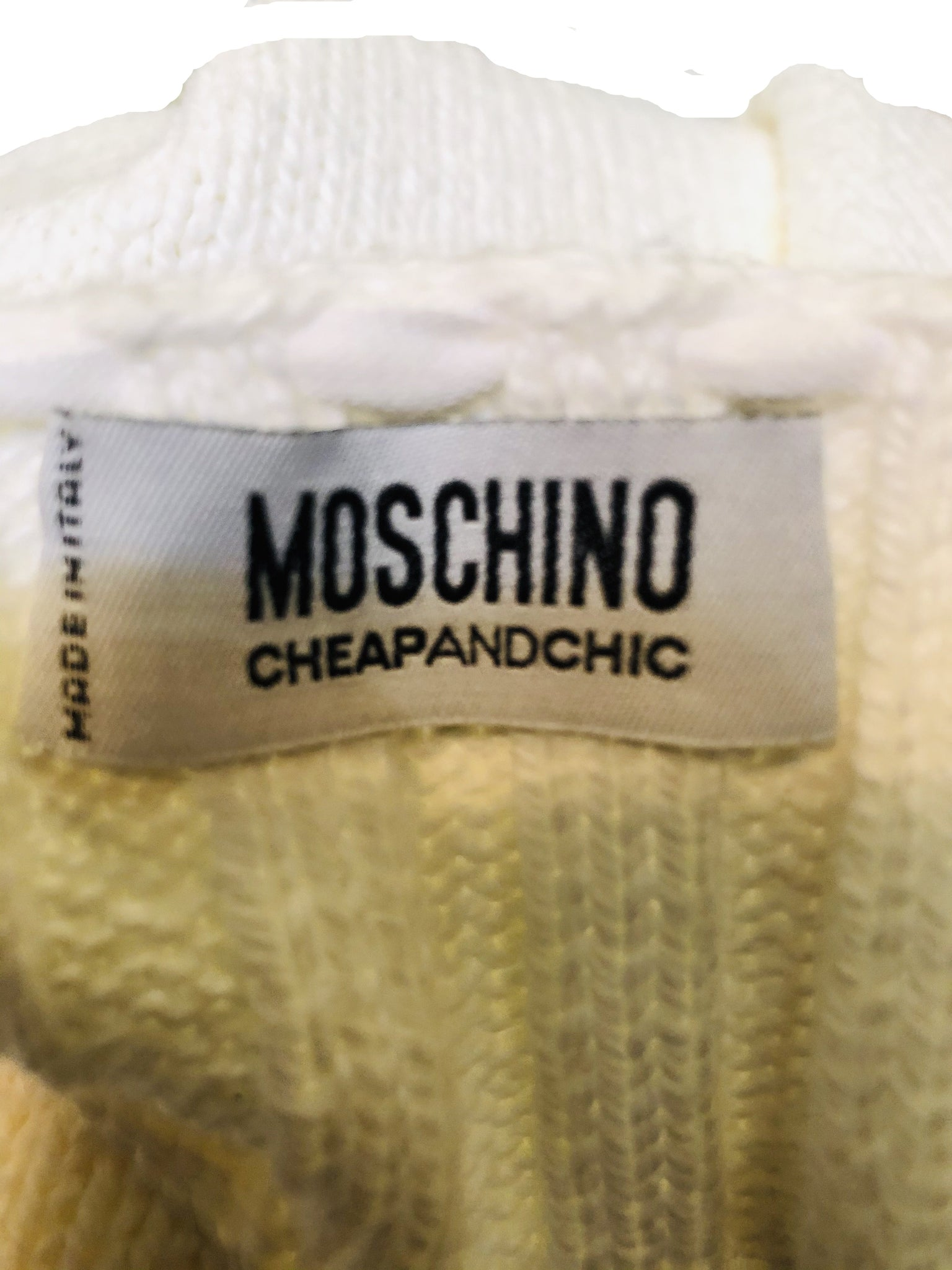 Moschino 90s White Cropped Sweater