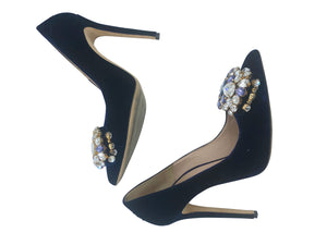 Gedebe Contemporary Blue Velvet Pumps With Massive Rhinestone Detail DETAIL 4 of 6