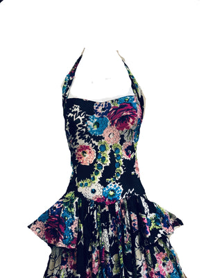 40s Black Floral Halter Gown with Peplum DETAIL 5 of 5