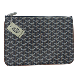 Goyard Senat Zip Pouch Coated Canvas Black and Brown FRONT 1 of 4