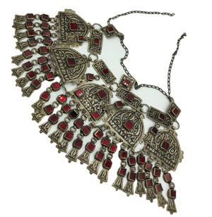 Huge Turkoman Collar With Red Inset Glass FRONT 1 of 3
