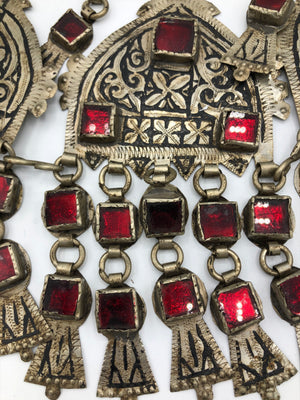 Huge Turkoman Collar With Red Inset Glass CLOSE UP 2 of 3