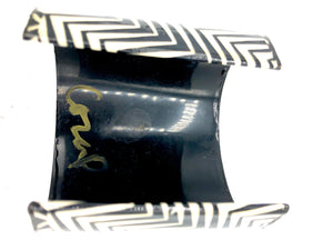 80s Artist Signed Black and White Decoupage Cuff BACK 2 of 2