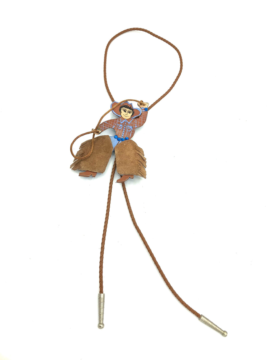 90s Artisanal Leather Cowboy Bolo Tie FRONT 1 of 4