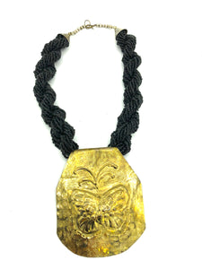 80s Necklace Black Braided with Hammered Brass FRONT 1 of 4