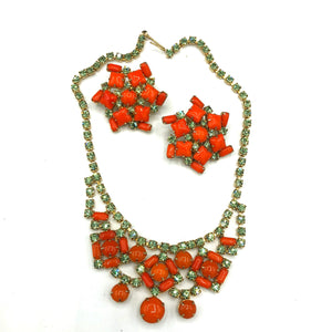 60s Orange and Pale Green Rhinestone Cocktail Jewelry Set FRONT 1 of 5