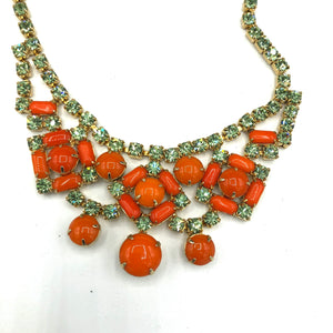 60s Orange and Pale Green Rhinestone Cocktail Jewelry Set 60s Orange and Pale Green Rhinestone Cocktail Jewelry Set CLOSE UP NECKLACE 2 of 5
