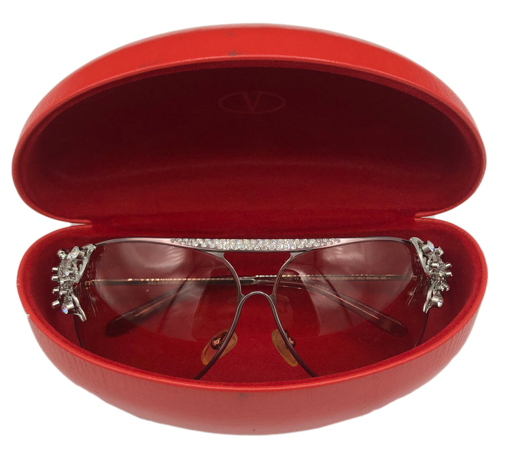 Valentino 2000s Butterfly Trimmed Sunglasses IN CASE 1 of 4