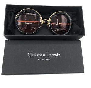 Christian Lacroix 90s Extremely Rare Black and Gold Sunglasses IN BOX 1 of 6