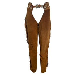 Katherine Baumann Brown Suede Studded Chaps FRONT 1 of 7