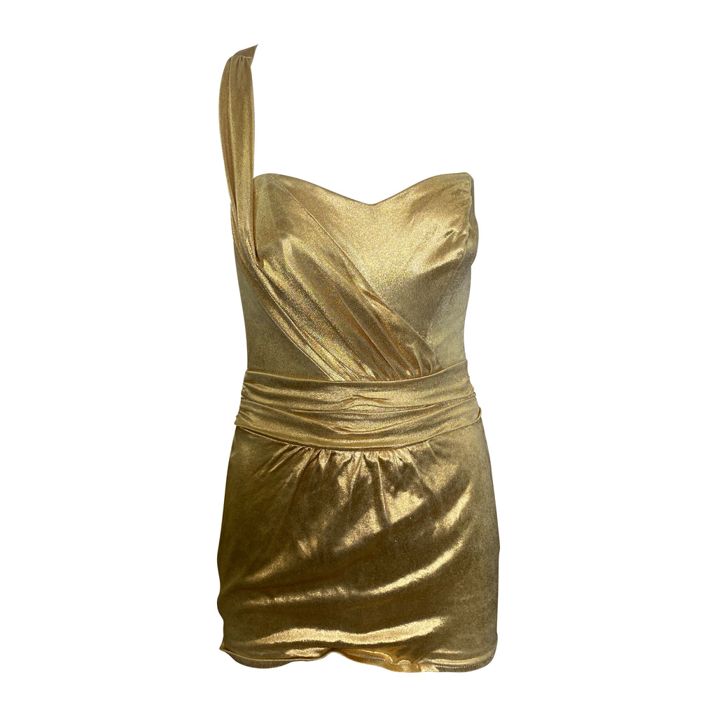 Rose Marie Reid 50s Gold Swimsuit FRONT 1 of 5